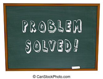 Problem Solved Words Chalkboard Solution