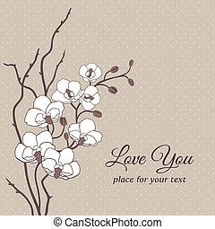 Floral vector card with orchids