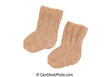 knitted socks made of wool on a white background
