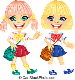 Vector smiling blonde cute schoolgirls - smiling happy blond...