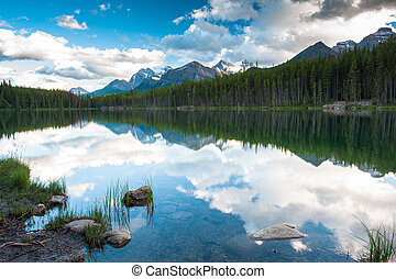 Mountain panorama from Herbert Lake at the icefield parkway...