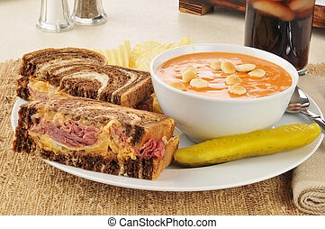 Reuben with tomato soup - A reuben sandwich on marbled rye...