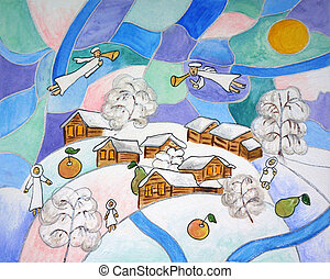 Painting. Abstract Slavic folk winter Christmas with angels...