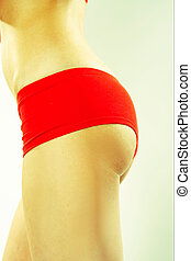 Woman In Red Active Wear - Backside