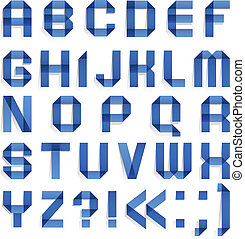 Alphabet folded of colored paper - Blue letters. (A, B, C,...