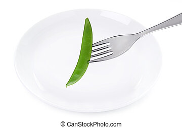 mange tout and plate isolated on white - mange tout on a...