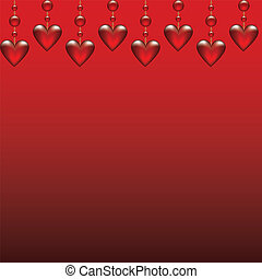 glass hearts - Valentines card with glass hearts