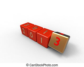 3d illustration of red and gold new years dice