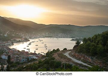 Sunset over a beach town