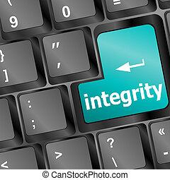 A computer keyboard with blue keys spelling integrity, Learn...