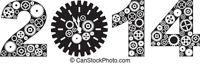 Happy New Year 2014 with Gears Illustration - Happy New Year...