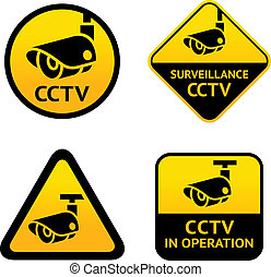 Video surveillance, set signs Vector illustration