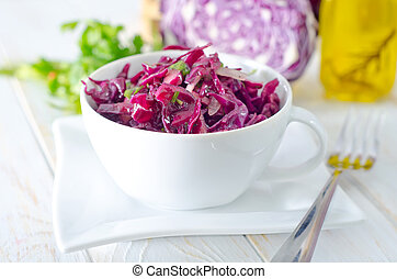 salad with blue cabbage
