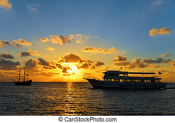 Orange and Blue Sunrise - Sunrise in San Andres, Colombia...