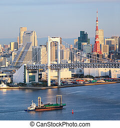Tokyo Skyline - Skyline of Tokyo as seen from Odaiba at...
