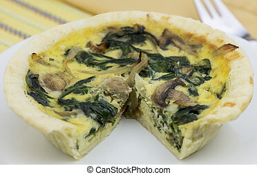 quiche - fresh baked spinach and mushroom quiche
