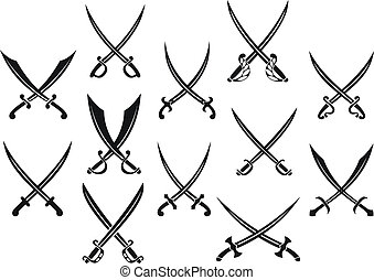 Swords and sabres for heraldry