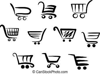 shopping, carreta, ícones