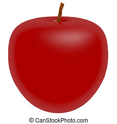 3d Render of a Shiny Red Apple