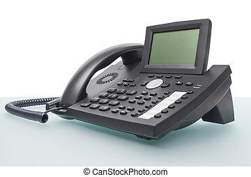 moderno, Voip, teléfono, escritorio