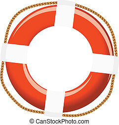 Isolated life buoy with ropes for help or SOS concept