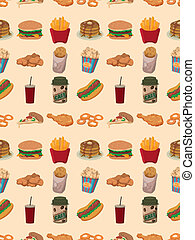 seamless fast food pattern,cartoon vector illustration
