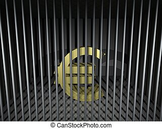 Euro Behind Bars - 3d render illustration of an imprisoned...
