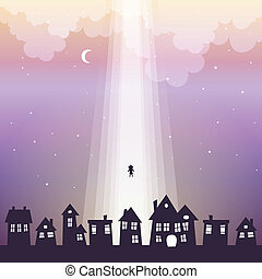 Going to Heaven - Vector illustration of a silhouette of a...