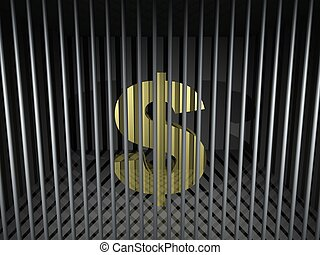 Dollar Behind Bars - 3d render illustration of an imprisoned...