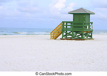 Lifeguard Hut Green - A green lifeguard hut on an empty...
