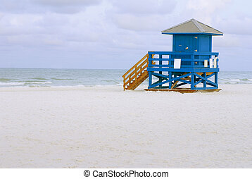 Lifeguard Hut Blue - A blue lifeguard hut on an empty...