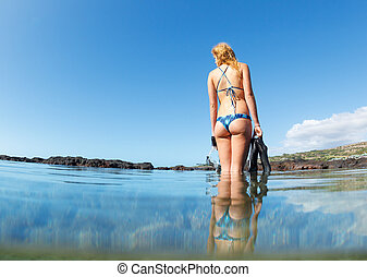 Sexy female snorkeler - Sexy Young Woman at the Beach with...