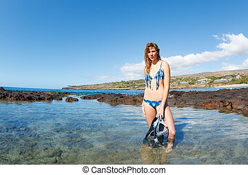 Beautiful Sexy Female Snorkeler - Beautiful Sexy Woman at...