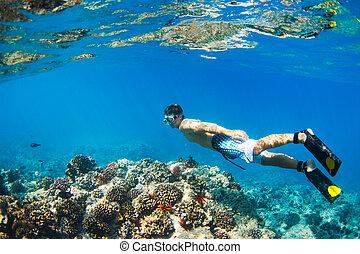 Snorkeling Underwater - Young Man Snorkeling Underwater over...