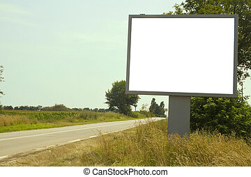 Sign - Deserted road with white billboard