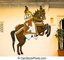 wall painting in Udaipur at a local house - traditional wall...