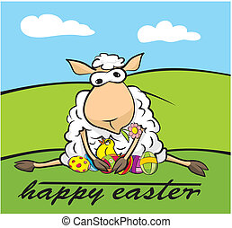happy easter - lamb and chick - easter card or landscape,...
