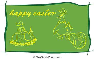 happy easter - green background - painting ester eggs,...