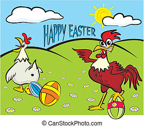 happy easter - painted eggs, hen an