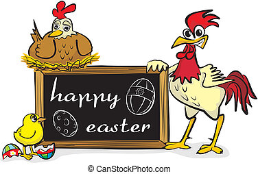 happy easter - chicken family
