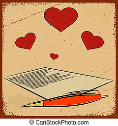 Vintage background with the image of a love letter - congratulations on Valentine's Day.