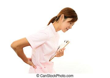 Nurse with shoulder neck pain