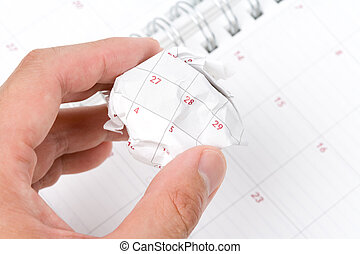 Calendar paper ball, concept of time planning, Wasting Time,...