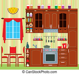 Kitchen furniture - Picture of a kitchen with a window, a...