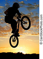 Airborne bike - BMX bike high up in the air