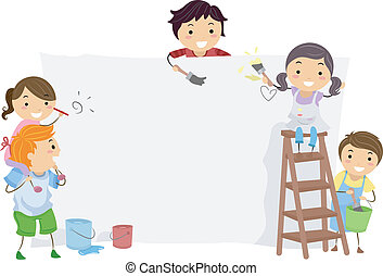 Painter Kids - Illustration of Kids Painting a Blank Board