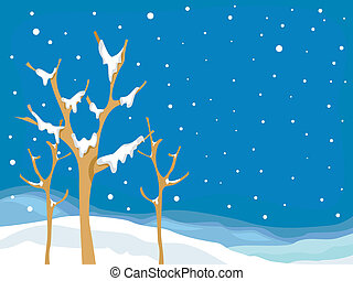 Snow Covered Winter Tree - Illustration of Leafless Trees...