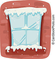 Winter Window - Illustration of a Frozen Window Pane Against...
