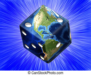 Global Gamble Earth in shape of die with burst