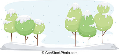 Snow Covered Trees - Background Illustration Featuring Trees...